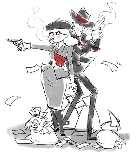 Bonnie and clyde drawings