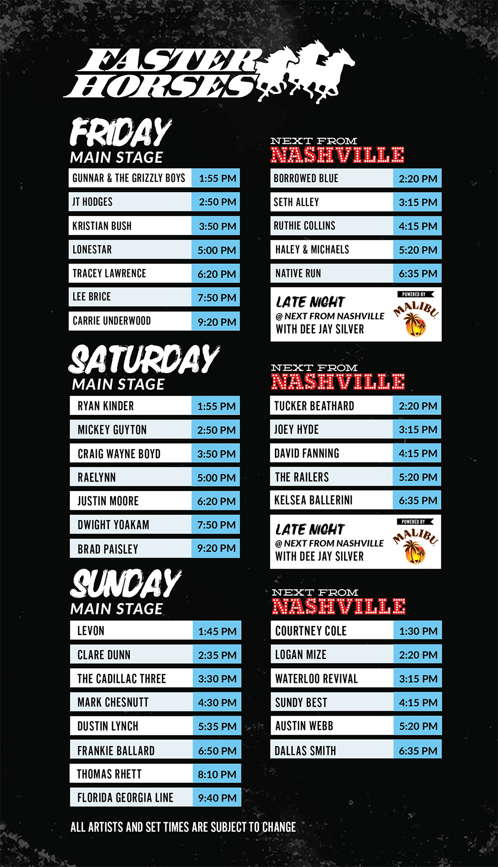 Faster horses 2014 lineup