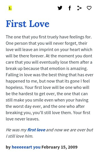 What does first love mean