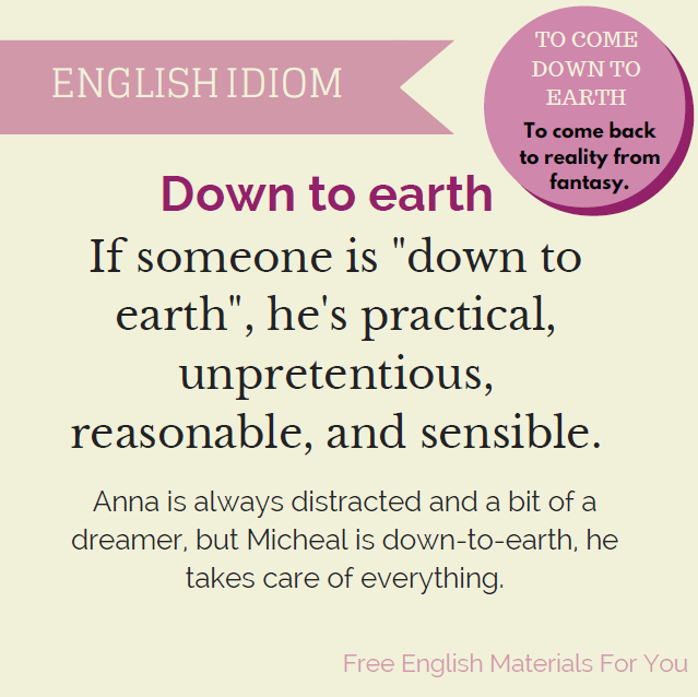 What does down to earth mean