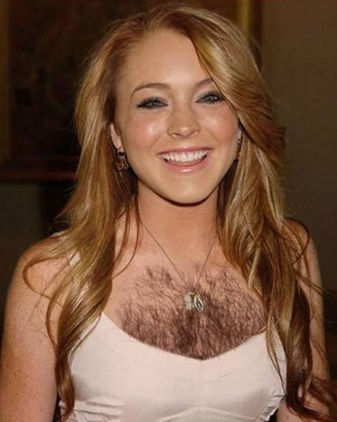 Woman with a hairy chest