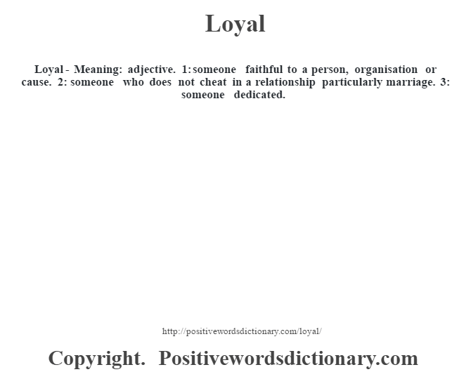 What does loyal mean