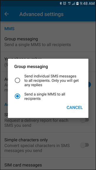 Send mass text without group message android