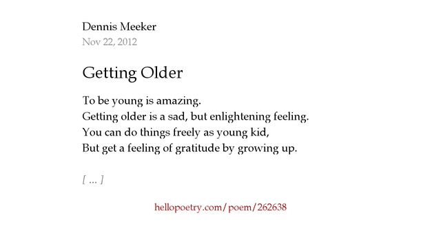 Poems about getting older