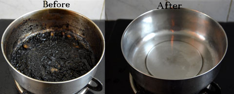 How to clean a burnt pot