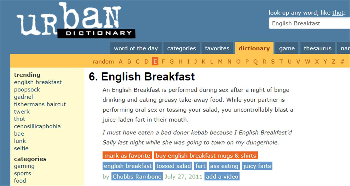 Tossing the salad urban dictionary