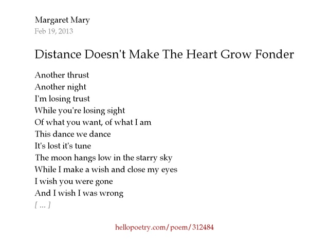 Absence makes the heart grow fonder poem