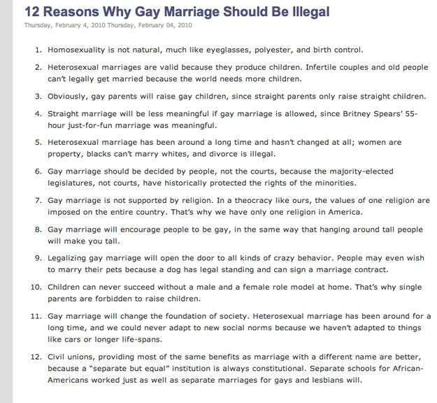 Anti gay marriage arguments