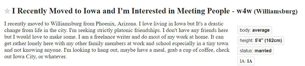 Iowa city craigslist personals