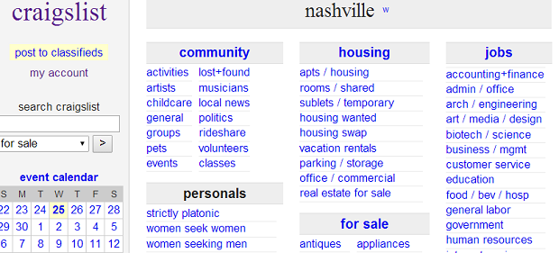 Craigslist Of Nashville Tennessee