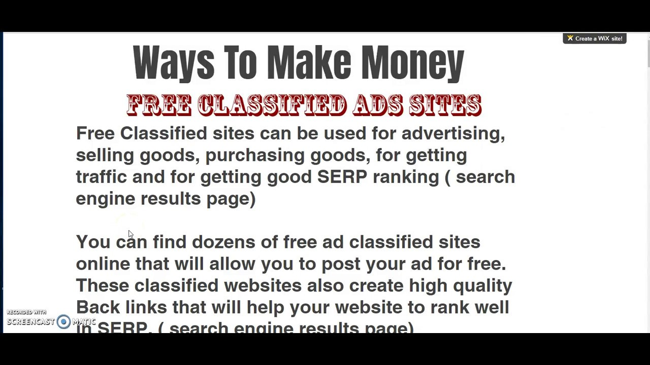 Free classifieds like craigslist