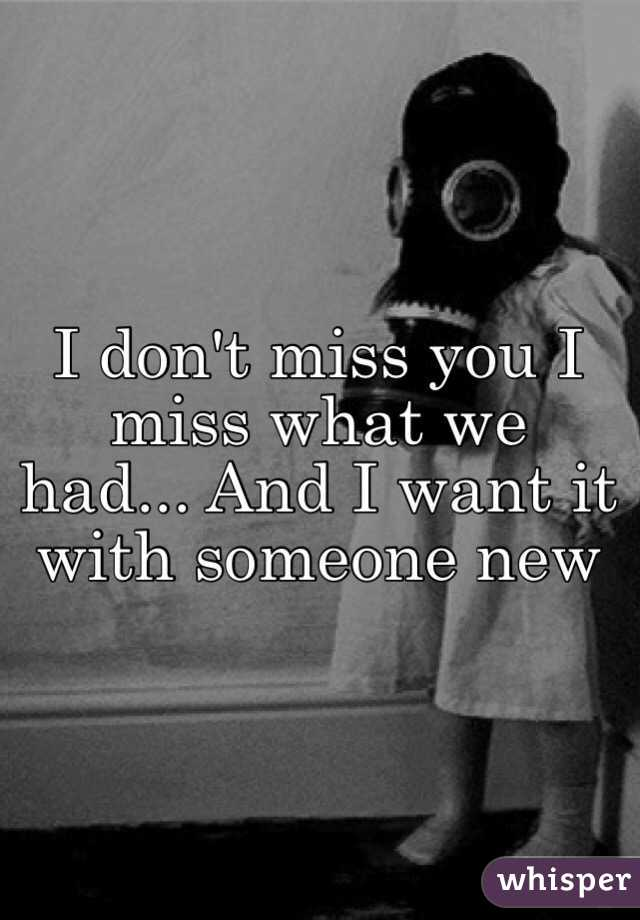 I miss what we had