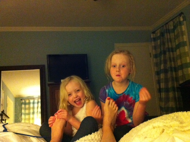 Little girls feet licked