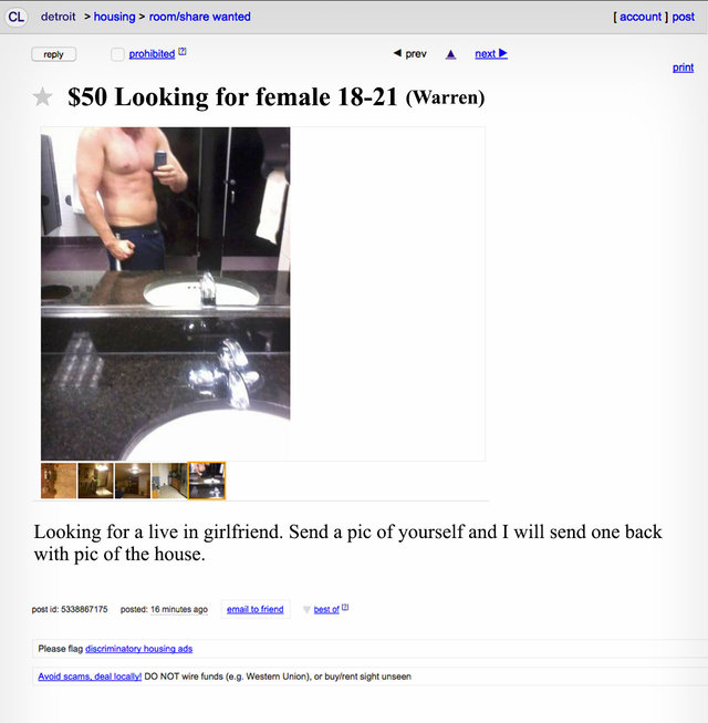 Live in girlfriend craigslist