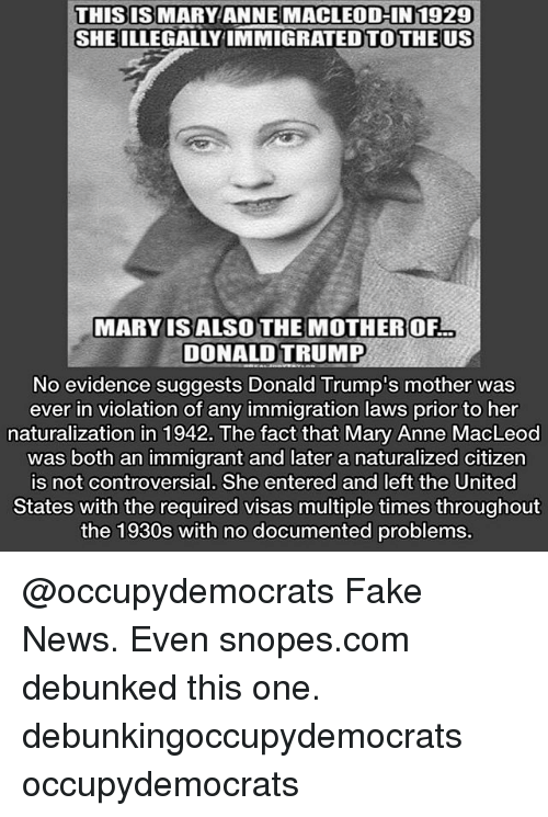 Mary anne macleod illegal immigrant
