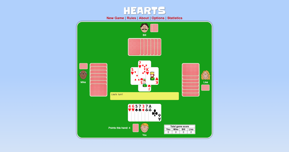 Rules for hearts card game