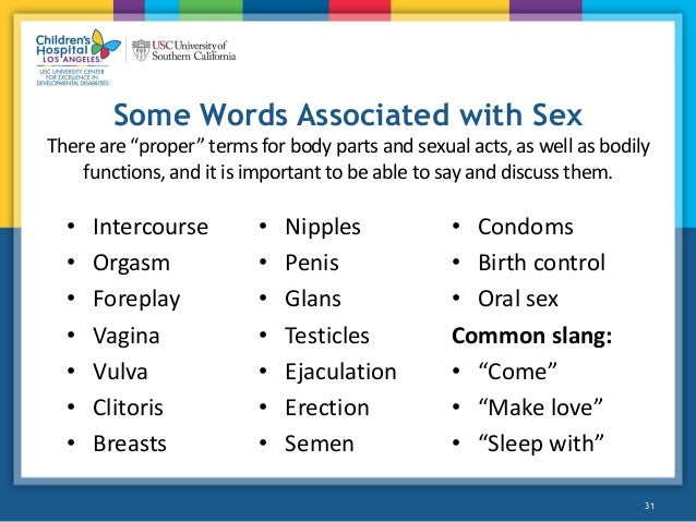 Sexual terms and slang