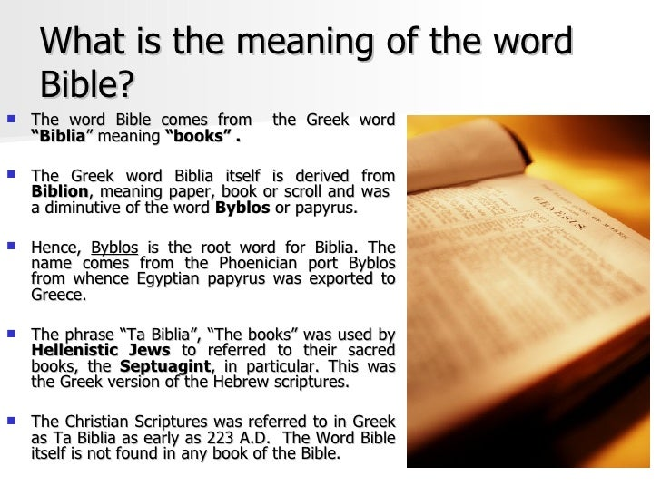 The word bible means