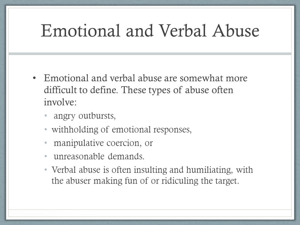 Verbally abusive parents examples